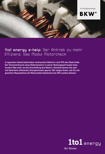 1to1 energy e-help: Der Antrieb zu mehr Effizienz. Das Modul ...