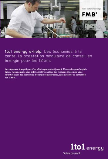 1to1 energy e-help: Des économies à la carte. La prestation ...