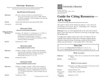 Guide for Citing Resources— APA Style