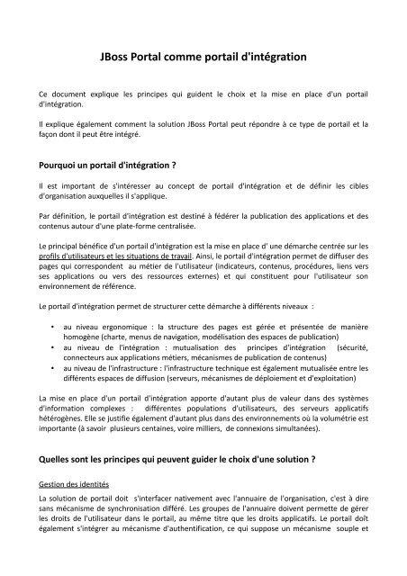 JBoss Portal comme portail d'intégration