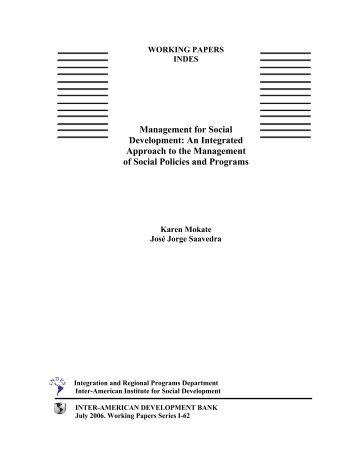 Management for Social Development: An Integrated Approach to the ...