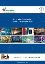 Enterprise Solution for Spinning & Weaving Mills An ERP Product for ...