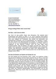 Einige wichtige Fakten über unsere Haut - Schaart, Frank-Matthias Dr.