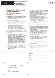 Merkblatt über die Verwendung von Feststellanlagen Zur ... - Dorma