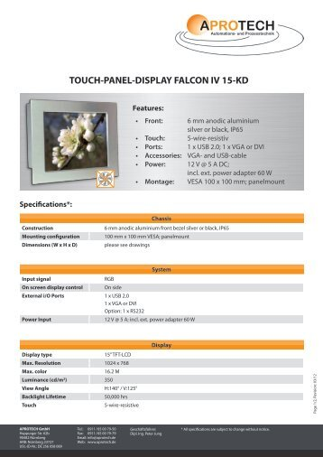 TOUCH-PANEL-DISPLAY FALCON IV 15-KD