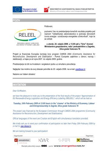 POZIV INVITATION - RELEEL - Ministarstvo gospodarstva