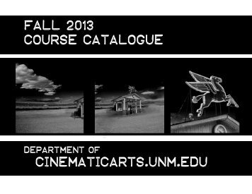 Fall Course Catalogue - Department of Cinematic Arts - University of ...