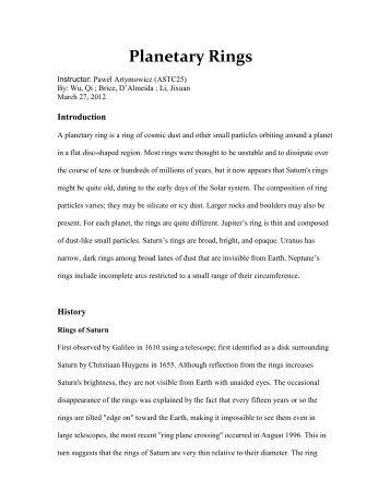 Planetary Rings - University of Toronto