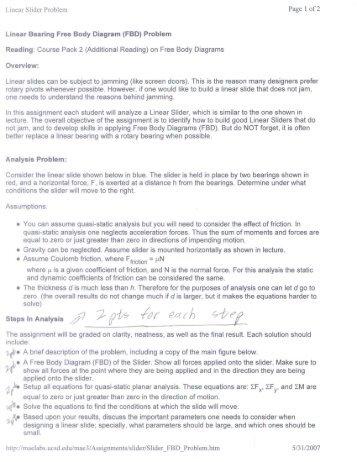 Linear Bearing Free Body Diagram (FBD) Problem - MAELabs UCSD