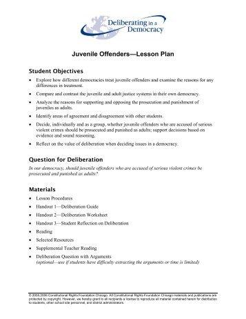 Juvenile Offenders—Lesson Plan - Litstudies.org