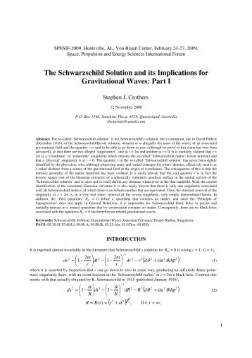 The Schwarzschild Solution and its Implications for Gravitational ...