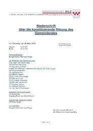 3. Gemeinderatssitzung vom 30.03.2010 (629 KB ... - Gemeinde Silz