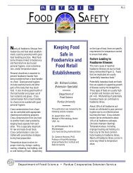Keeping Food Safe in Foodservice and Food Retail Establishments