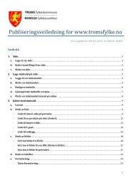 Publiseringsveiledning for www.tromsfylke.no - Ansatte