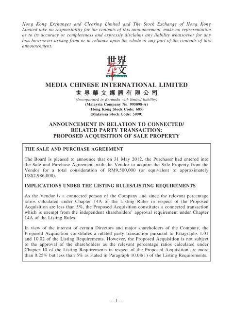 E121015A_Media Chinese 1..10 - Announcements - Bursa Malaysia