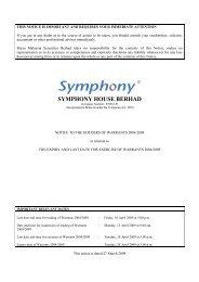SYMPHONY HOUSE BERHAD - Announcements - Bursa Malaysia