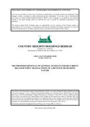 COUNTRY HEIGHTS HOLDINGS BERHAD - Announcements