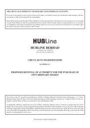 HUBLINE BERHAD - Announcements - Bursa Malaysia