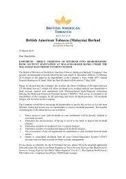 British American Tobacco (Malaysia) Berhad - Announcements ...