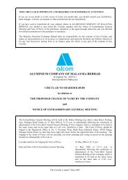 ALUMINIUM COMPANY OF MALAYSIA BERHAD - Announcements