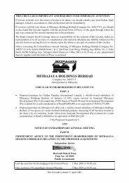 MITRAJAYA HOLDINGS BERHAD - Announcements