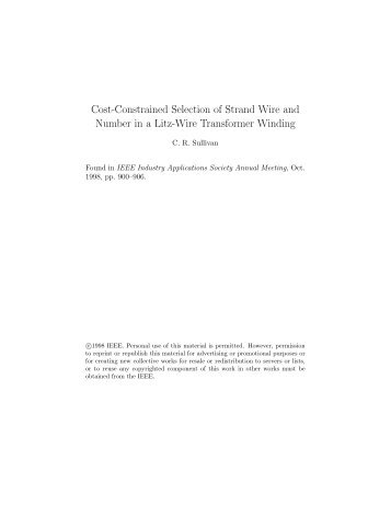 Cost-Constrained Selection of Strand Wire and Number in a Litz ...