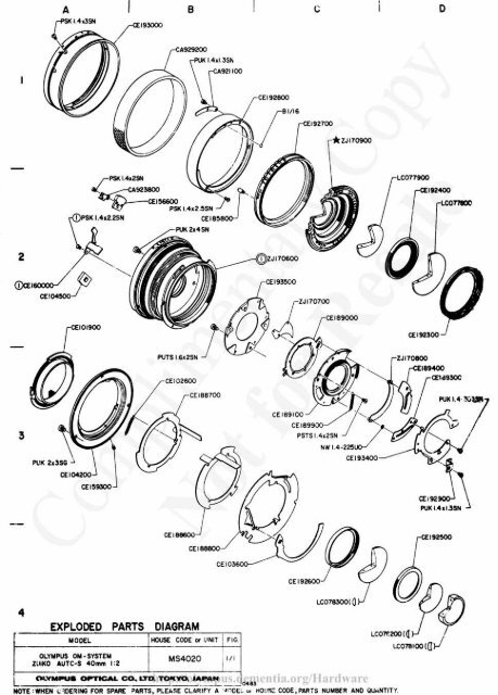 Olympus 40mm F2 Lens Exploded Parts Diagram 0483