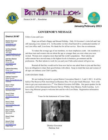 January/February 2013 GOVERNOR'S MESSAGE - E-district.org