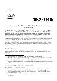 Intel annonce un chiffre d'affaires de 12,9 milliards de dollars pour le ...