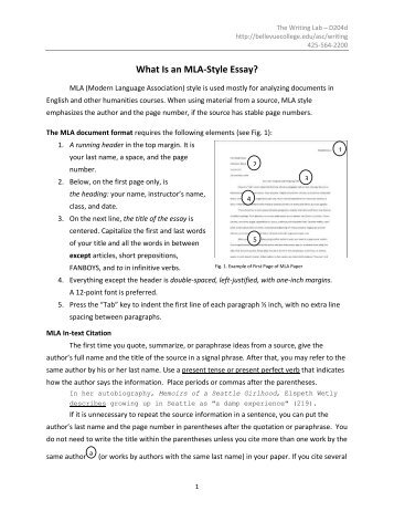 What is mla format for an essay