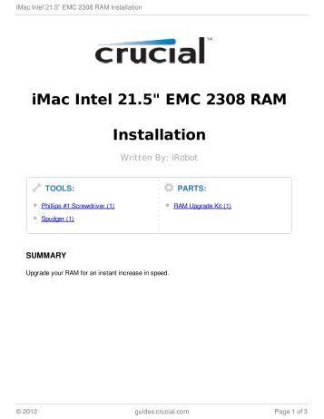 "iMac Intel 21.5"" EMC 2308 RAM Installation"