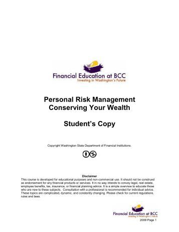 Personal Risk Management Lesson Plan - Bellevue College