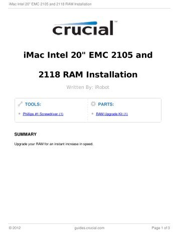 "iMac Intel 20"" EMC 2105 and 2118 RAM Installation"