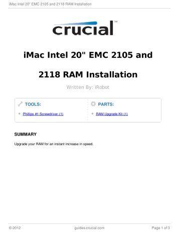 "iMac Intel 20"" EMC 2105 and 2118 RAM Installation"