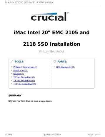 "iMac Intel 20"" EMC 2105 and 2118 SSD Installation"