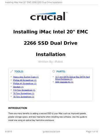 "Installing iMac Intel 20"" EMC 2266 SSD Dual Drive Installation"