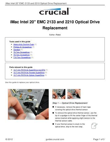 "iMac Intel 20"" EMC 2133 and 2210 Optical Drive Replacement"