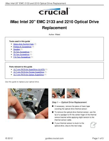 """iMac Intel 20"""" EMC 2133 and 2210 Optical Drive Replacement"""