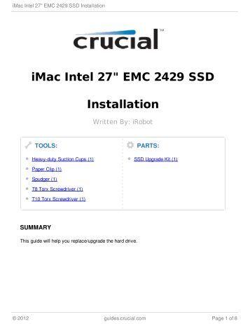 "iMac Intel 27"" EMC 2429 SSD Installation"