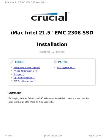 "iMac Intel 21.5"" EMC 2308 SSD Installation"