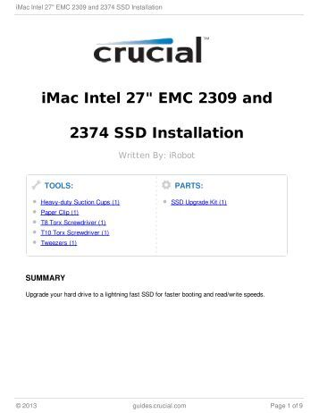 "iMac Intel 27"" EMC 2309 and 2374 SSD Installation"