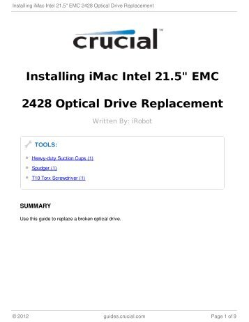 "Installing iMac Intel 21.5"" EMC 2428 Optical Drive Replacement"