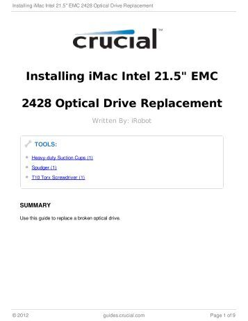 "Installing iMac Intel 21.5"" EMC 2428 Optical Drive Replacement"
