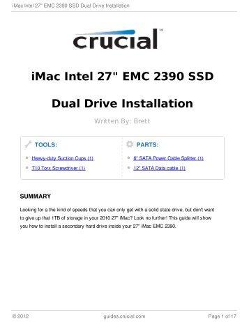 "iMac Intel 27"" EMC 2390 SSD Dual Drive Installation"