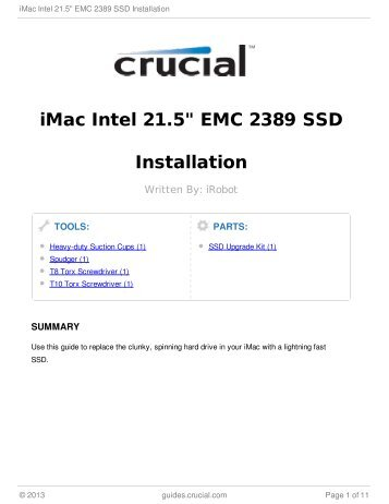 "iMac Intel 21.5"" EMC 2389 SSD Installation"