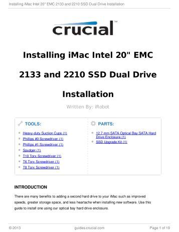 "Installing iMac Intel 20"" EMC 2133 and 2210 SSD Dual Drive ..."