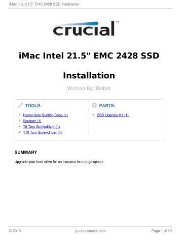 "iMac Intel 21.5"" EMC 2428 SSD Installation"