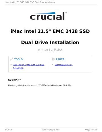 "iMac Intel 21.5"" EMC 2428 SSD Dual Drive Installation"