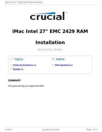 "iMac Intel 27"" EMC 2429 RAM Installation"