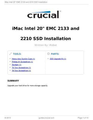 "iMac Intel 20"" EMC 2133 and 2210 SSD Installation"